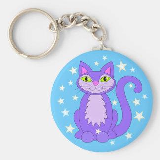 Cartoon Kitty Cosmic Stars Smiling Cat Blue Keychain
