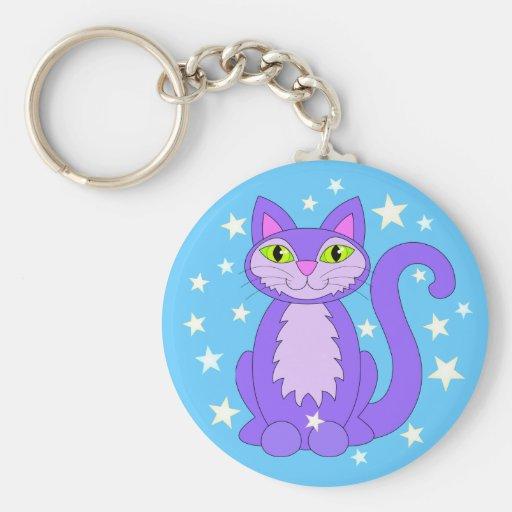 Cartoon Kitty Cosmic Stars Smiling Cat Blue Key Chains