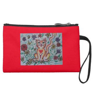 Cartoon Kitty Suede Wristlet Wallet