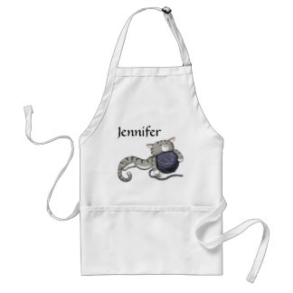 Cartoon Kitty with ball of yarn Adult Apron
