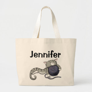 Cartoon Kitty with ball of yarn Large Tote Bag