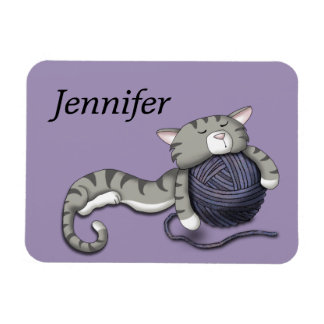 Cartoon Kitty with ball of yarn Magnet