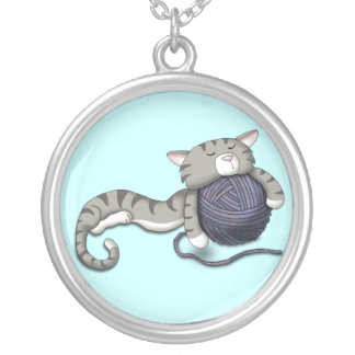 Cartoon Kitty with ball of yarn Silver Plated Necklace