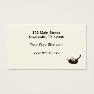 Cartoon Kitty with toy mouse Business Card