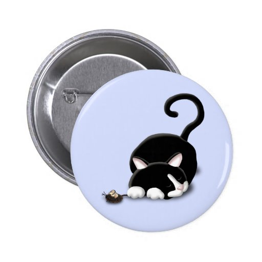 Cartoon Kitty with toy mouse Pinback Button
