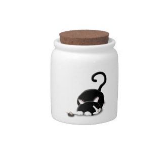 Cartoon Kitty with toy mouse Candy Dish