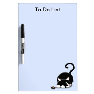Cartoon Kitty with toy mouse Dry-Erase Boards