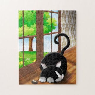 Cartoon Kitty with toy mouse Jigsaw Puzzle