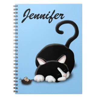 Cartoon Kitty with toy mouse Notebook