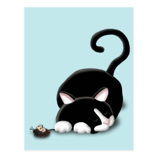 Cartoon Kitty with toy mouse Post Cards