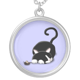 Cartoon Kitty with toy mouse Silver Plated Necklace