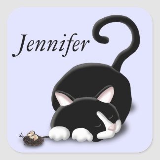 Cartoon Kitty with toy mouse Square Sticker