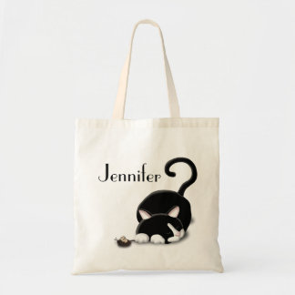 Cartoon Kitty with toy mouse Tote Bag