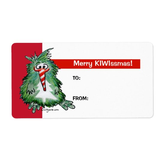 Cartoon Kiwi Bird 2 Christmas Gift Tag Labels