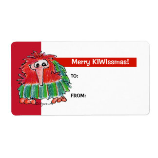 Cartoon Kiwi Bird 3 Cute Christmas Gift Tag Labels