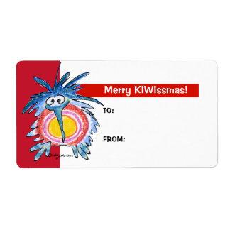 Cartoon Kiwi Bird 4 Christmas Gift Tag Labels
