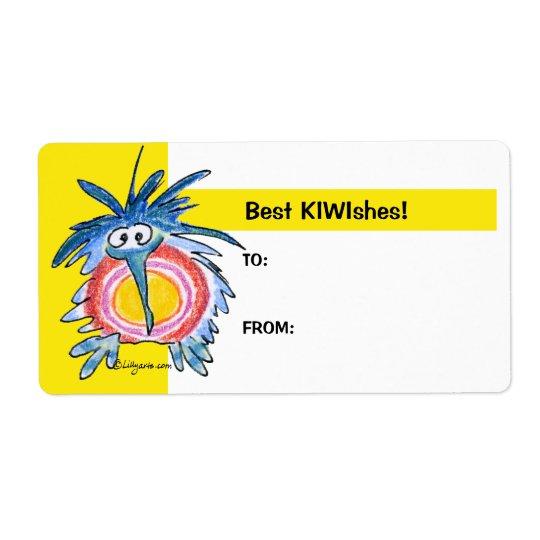 Cartoon Kiwi Bird 4b Yellow Gift Tag Labels