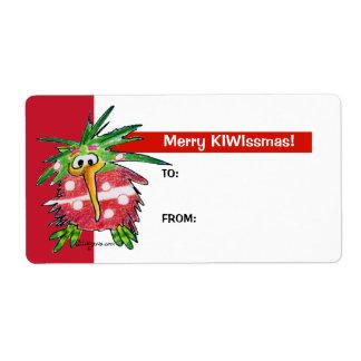 Cartoon Kiwi Bird Cute Christmas Gift Tag Labels