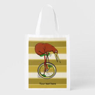 Cartoon Kiwi Bird Unicyling Reusable Grocery Bag