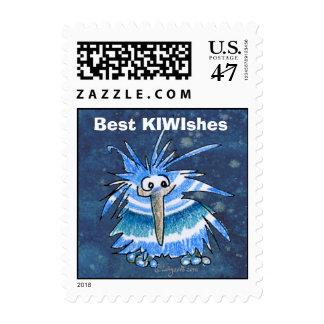 Cartoon Kiwi Blue Stripes Small Postage Stamp