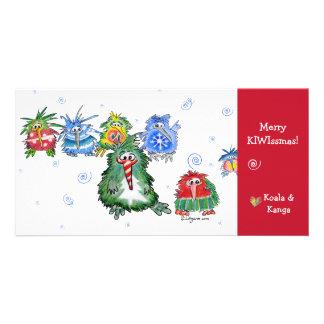 Cartoon Kiwi Merry Christmas Card