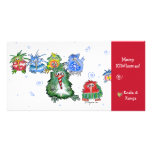 Cartoon Kiwi Merry Christmas Card Personalized Photo Card