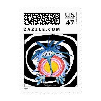 Cartoon Kiwi Spiral Small Postage Stamp