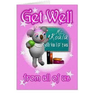 Cartoon Koala Get Well School Teacher blank inside Card