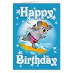 Cartoon Koala Happy Birthday Surfer Card-blank Card