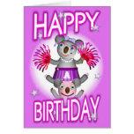 Cartoon Koala We Cheer 4U Birthday Card