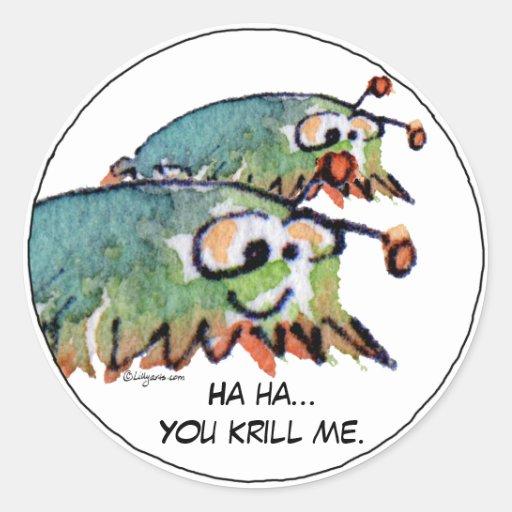 Cartoon Krill Funny Stickers - Customize Text