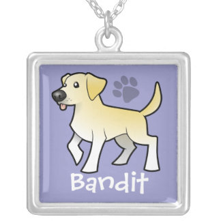 Cartoon Labrador Retriever (add your pets name) Square Pendant Necklace