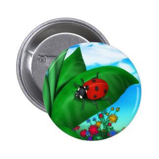 Cartoon Lady Bug Button
