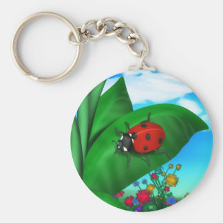 Cartoon Lady Bug Keychain