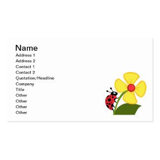 CARTOON LADYBUG crawling flower cute happy summer Business Card