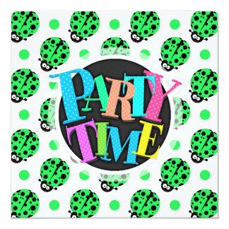 Cartoon Ladybug, Neon Green & White Polka Dots Invitation