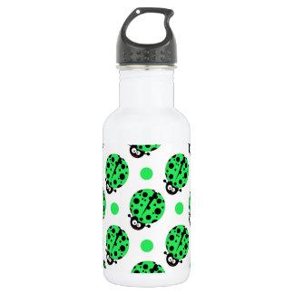 Cartoon Ladybug, Neon Green & White Polka Dots 18oz Water Bottle