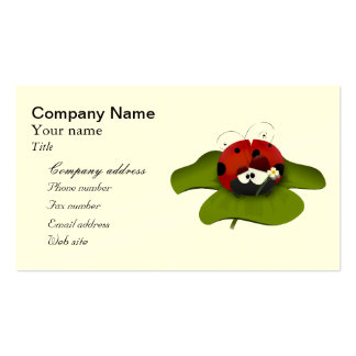 Cartoon ladybug on a green leaf Double-Sided standard business cards (Pack of 100)