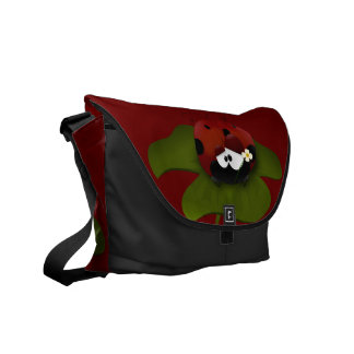Cartoon Ladybug On Leaf With Flower Messenger Bag