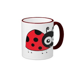 Cartoon Ladybug Ringer Coffee Mug