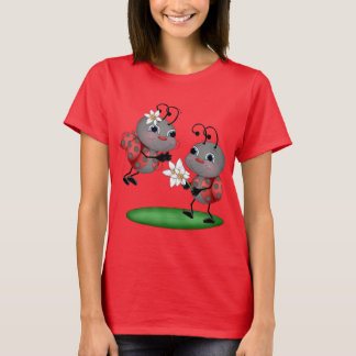 Cartoon ladybug womens fun insect t-shirt