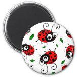 Cartoon ladybugs pattern 2 inch round magnet