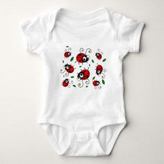 Cartoon ladybugs pattern baby bodysuit