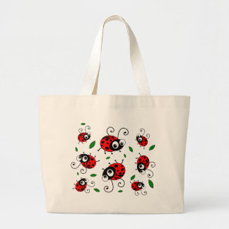 Cartoon ladybugs pattern jumbo tote bag
