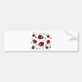 Cartoon ladybugs pattern bumper sticker