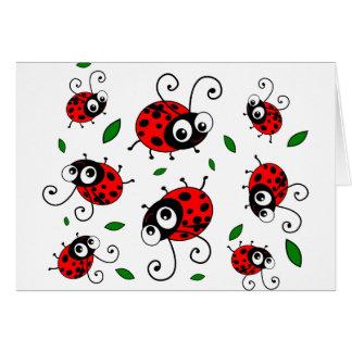 Cartoon ladybugs pattern card
