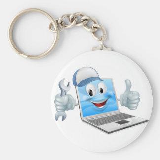 Cartoon laptop computer repair mascot keychain