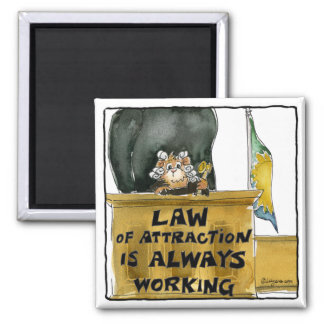 Cartoon Law of Attraction Hamster Judge Magnet