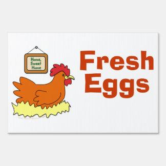 Cartoon Laying Chicken in Nest Fresh Eggs Custom Yard Sign