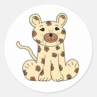 Cartoon Leopard Classic Round Sticker